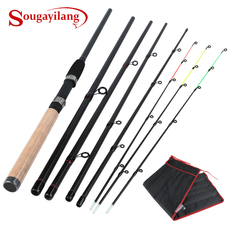 Sougayilang 3M Fishing Rod Ultralight Weight 6 Section Fishing Rod Carbon Rod Spinning Travel Rod Carp Fishing Tackle