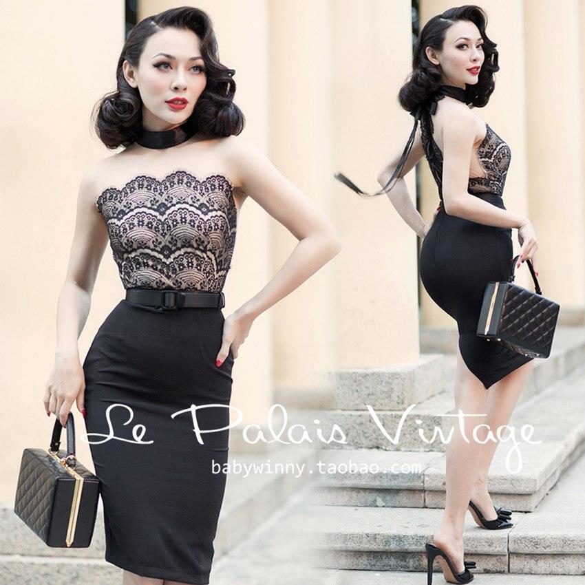 FREE SHIPPING Le Palais Vintage 2016 Summer New Elegant Sexy Lace Stitching Black Sleeveless Slim Dress