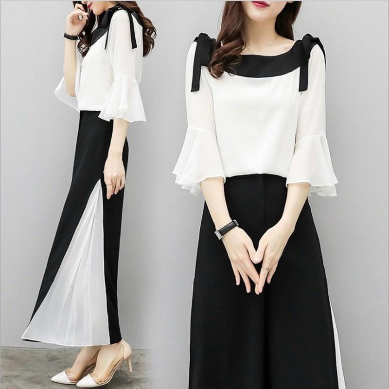 2019 Fashion Elegant 2 Pieces Suits Chiffon Flare Blouse Wide Leg Pants Sets Black White Two Pieces Sets 2