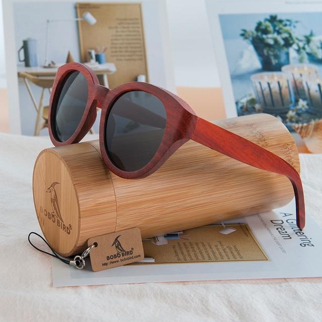 BOBO OISEAU AG013a Big Cat Eye Design lunettes de Soleil Pour Femmes Nature  Rouge Bois De 279fdd3457ba