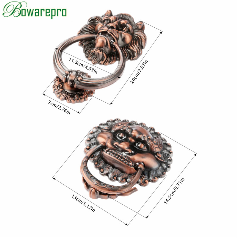 130MM Antique Handles Vintage Lion Head Drawer Cabinet Knobs and Handles Doorknockers Rings Pulls Hardware Furniture 1PC red copper antique brass golden lion head cabinet ring handles antique bronze cartoon single knobs drawer pulls closet drawer page 4