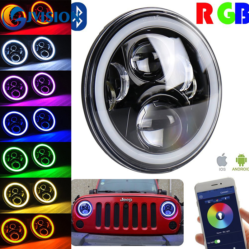 7 INCH Round headlight with RGB Halo Ring 7'' 60W DRL Headlamp Flashing RGB Angel eyes Bluetooth Controlled for Jeep Wrangler JK штатное головное устройство incar ahr 2467 hyundai h 1 2016 на android 4 4 4