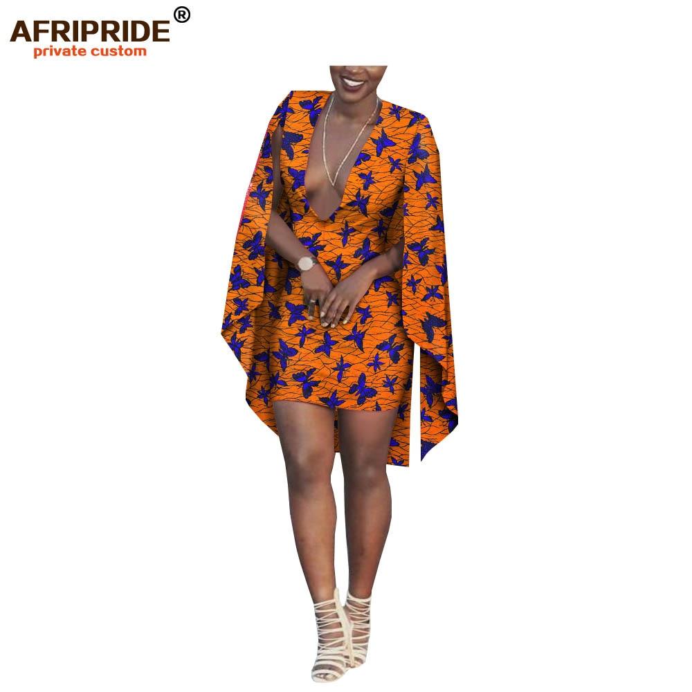 2018 african summer mini dress for women AFRIPRIDE ankara print long cloak sleeve mini length casual