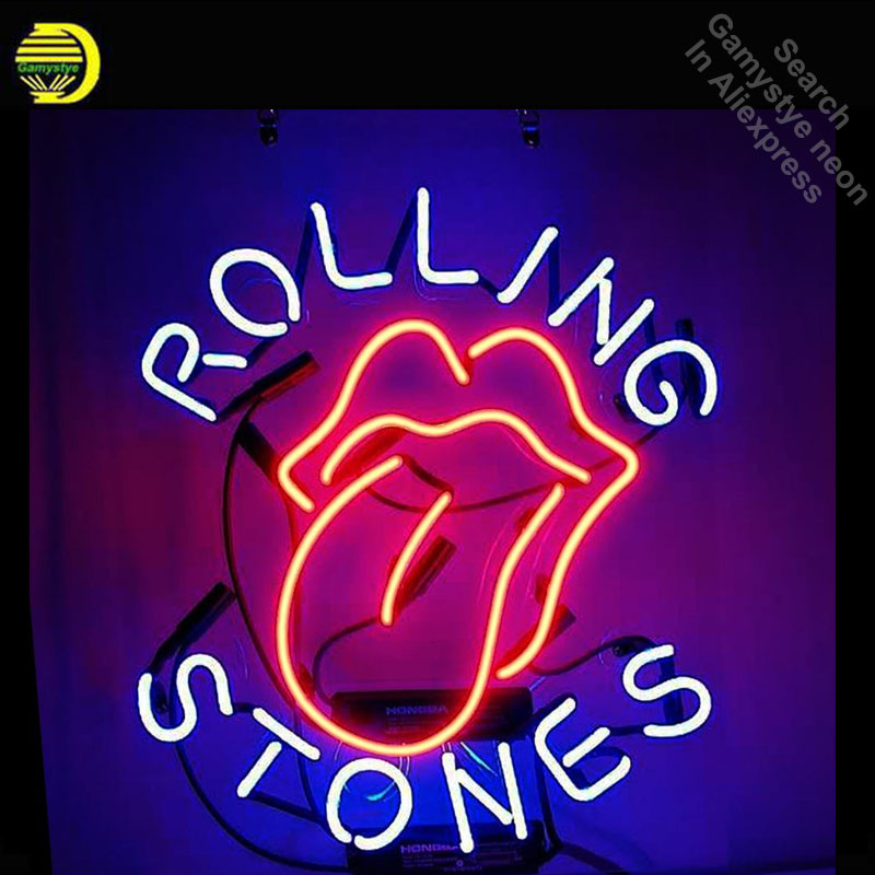 Rolling Stones Neon Sign neon bulb Sign Real Glass Tube neon lights Recreation Iconic Sign store Display Advertise personalized neon sign open live nudes sexy girl neon light sign decorate real glass tube neon bulb arcade neon sign glass store display17x14
