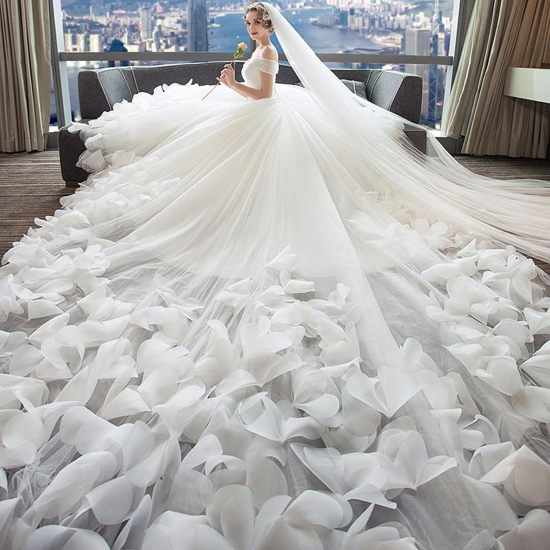 Dressv Blanc Robe De Mariée En Tulle Épaules tombantes Fleurs Lacets Une Ligne Luxueux 2018 Personnalisé Robe De Mariée Robe de mariée