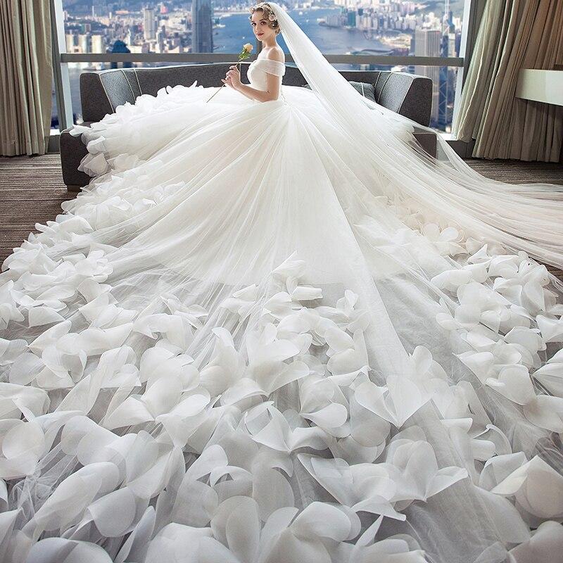 Dressv Blanc Robe De Mariage Tulle De L'épaule Fleurs Lacent Une Ligne de Luxe 2018 Robe De Mariée Sur Mesure Robe De Mariée