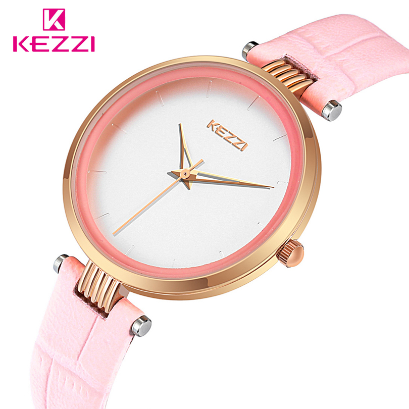 KEZZI Women Watch Leather Simple Wristwatch Top Brand Quartz Watches Women Clock Relogio Feminino 2018 Female Clock Gril Gift