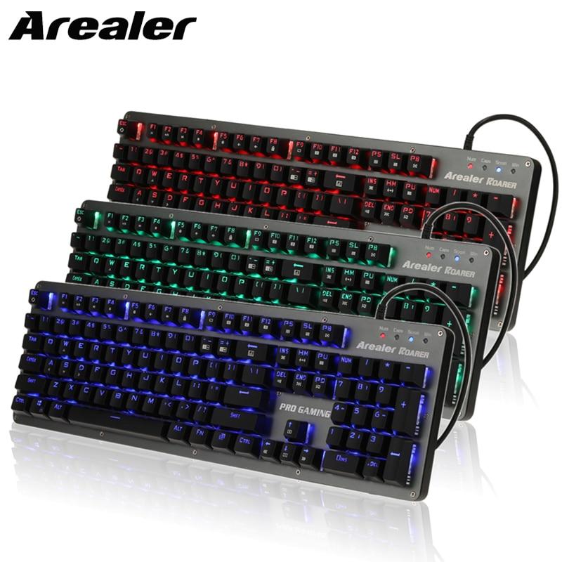 104 Keys LED Gaming Keyboard Backlit Anti-Ghosting USB Mechanical Blue Switches