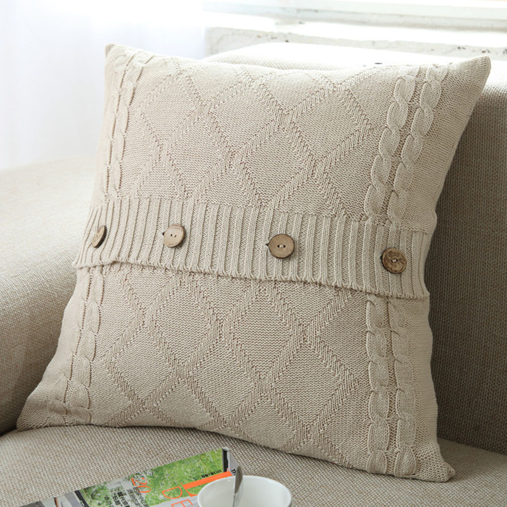 New Qualited Pillow Covers Decorative Throw Knitting Button Fashion Throw Pillow Cases Cafe Sofa Cushion Cover Home Decor Jan8