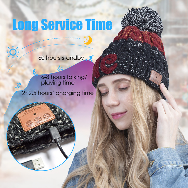 Wireless Bluetooth Headphone Beanie, Winter Hat with Pom Pom, Gifts for Christmas Day, Gifts for Birthday