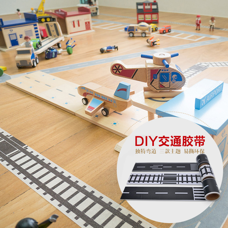 1 Set DIY Child Scene Toys Paper Self-adhesive Sticker Rail Transit Road Tape