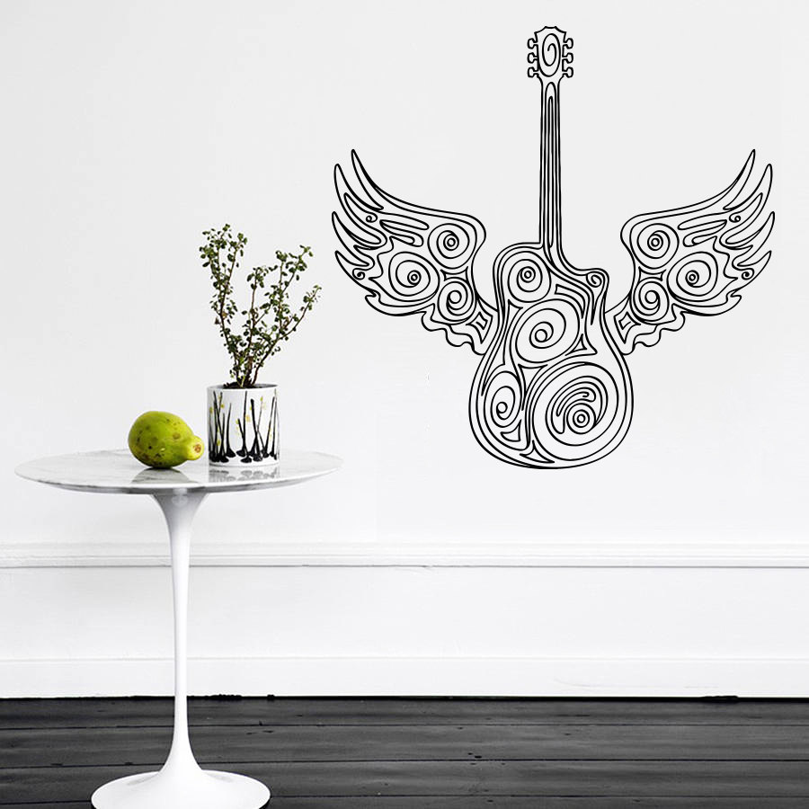 online get cheap music studio furniture aliexpress com alibaba art vinyl sticker guitar wings wall decal music lo