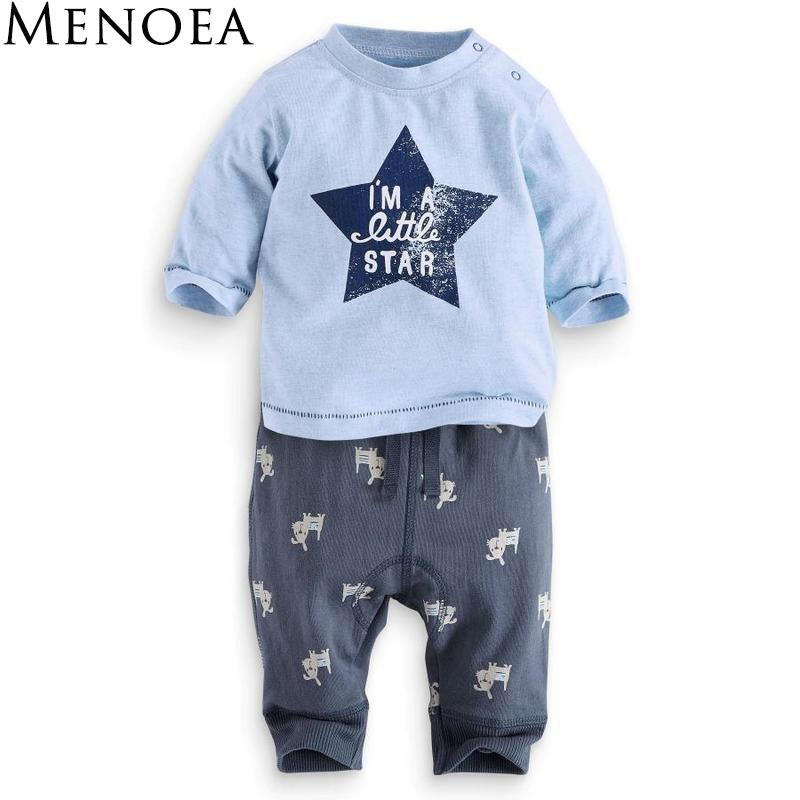 2016 New Fashion Style Baby Girls Boys Clothes Kids Baby Clothing Sets Black Letter T-shirt+Imitation cowboy pants 2pcs suit