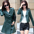 2016 leather NEW Women Windbreaker lapel  leather coat fashion  Long  Slim  jacket