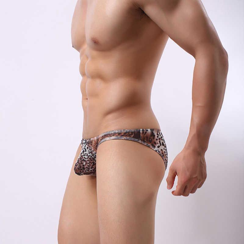 f187818efb21 ... Fashion Mens Bikini Leopard Print Briefs Underwear Male Sexy Low-rise  Pouch Underpants Comfortable Thin ...