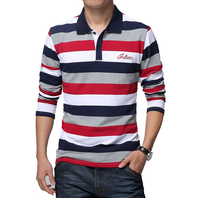 ICPANS Polo Shirt Men Long Sleeve Cotton Striped Pattern Letters Print Casual Men Polo Shirt Slim Fit Tops Tee Plus Size 4XL 5XL