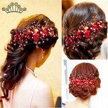 Модные красные хрустальные бусины ободок для волос Свадебные украшения для волос Свадебная повязка для волос ручной работы с цветком для невесты