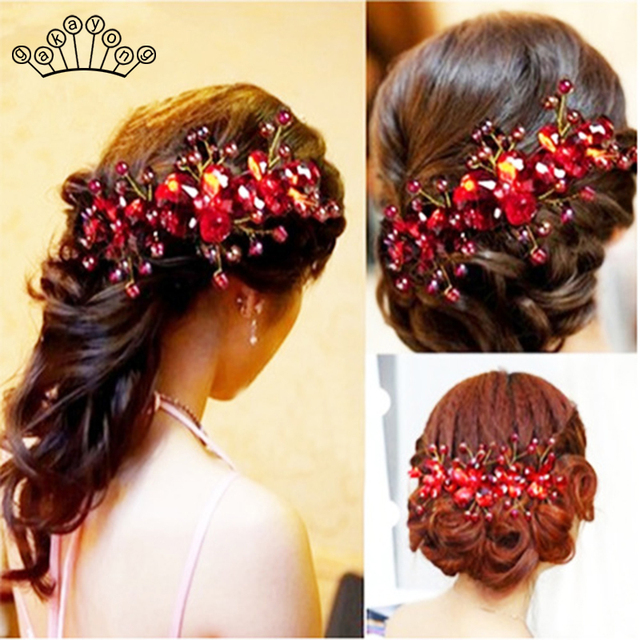 Fashion Red Crystal Beads Hairband Wedding Hair Jewelry Bridal Hairwear Handmade Flower Headband For Bride