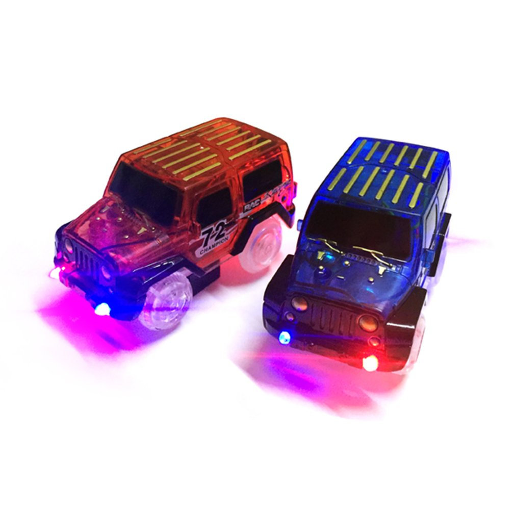 LED Light Up Cars For Glow Tracks Electronics Car Toys With Flashing Lights Fancy DIY Toy Kid Railway Luminous Machine Track Car