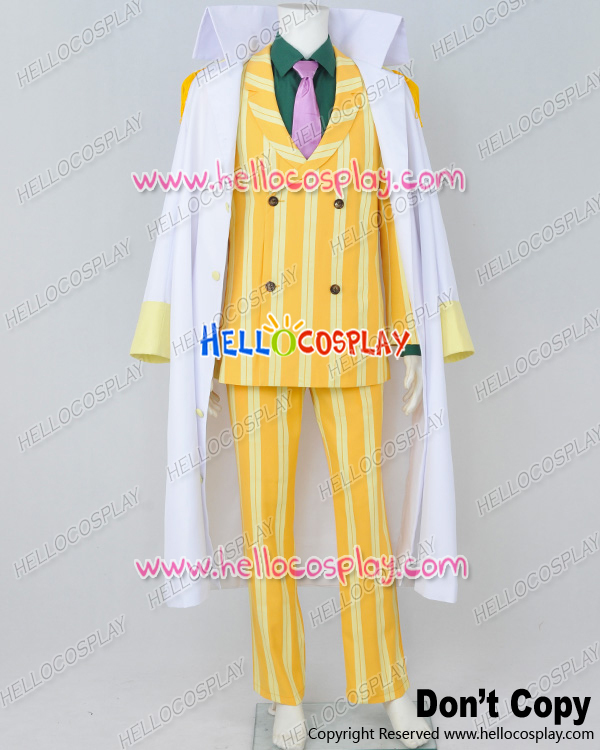 One Piece Cosplay Admiral Sakazuki Kizaru Borsalino Costume Yellow Stripe H008
