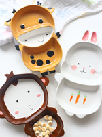 Home children's cartoon ceramic dishes cute animals split tray tableware breakfast plate porcelain tableware round round dinner
