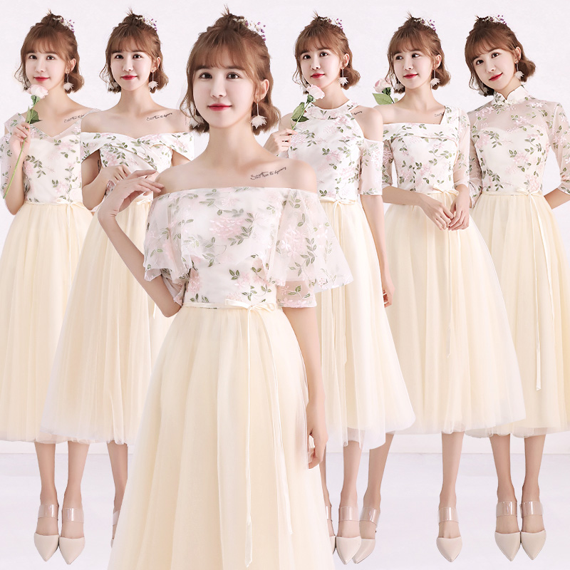 2018new Stock Plus Size Women Pregnant Wedding Party Bridesmaid Dresses Flower Sexy Romantic A Line Champagne Dresses Abe186