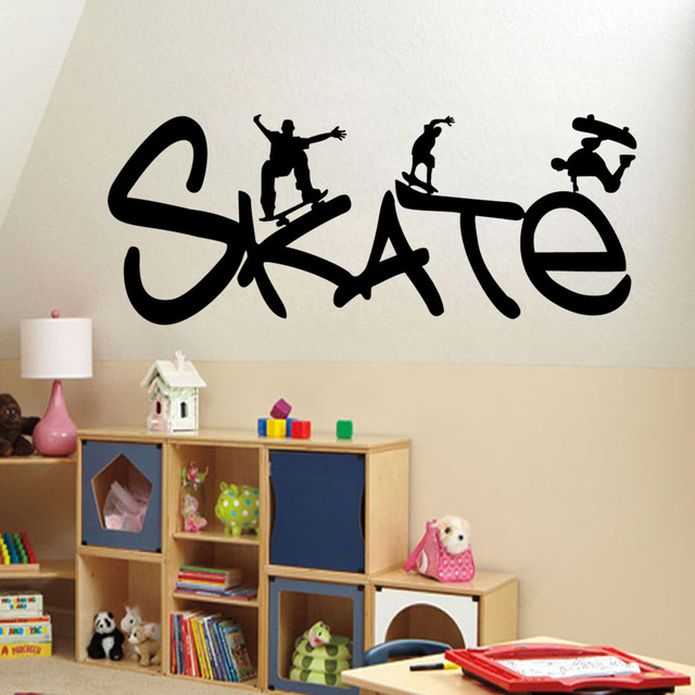 Skate Sports Vinyl Wall Stickers Living Room Kids Bedroom Decals Posters Removable Self Adhesive Wallpaper Art
