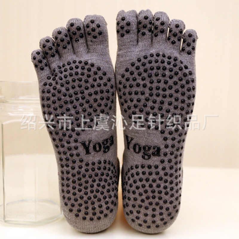 Damskie skarpetki do jogi damskie sportowe skarpetki do pilatesu taniec baletowy skarpetki pięć palców silikonowe kropki antypoślizgowe skarpetki najnowszy