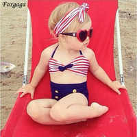 2015 Cute Striped Sailor Child Bikini Swimsuit Swimwear Bathing Suit For Baby Girls Kids Biquini Children