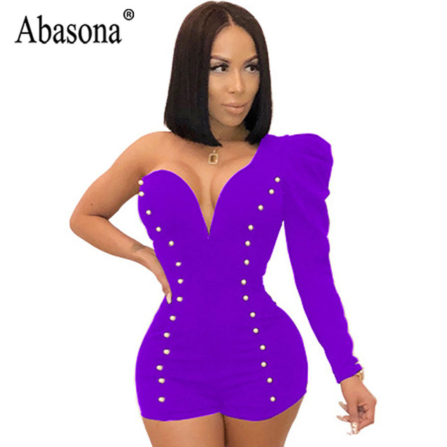 Abasona Solid Short Rompers Summer Jumpsuit Woman Sexy Club Jumpsuit Women  One Shoulder Bodycon Romper Beading High Waist Romper c1ea793b19