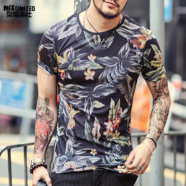 b1e19b1dd70 2018 summer new flower printed men s short sleeve T-shirt digital printing  casual men s short