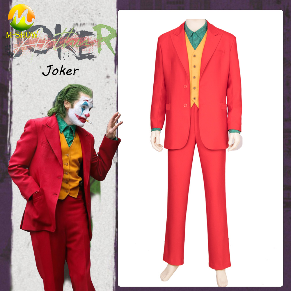 Movie Batman Joker Arthur Fleck Cosplay Costume Joaquin Phoenix Outfit Cosplay Red Full Set Suit Halloween Party Costume