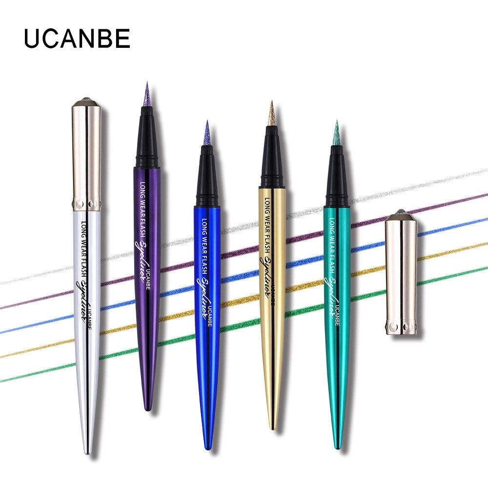 Ucanbe makeup glitter eyeliner pencil 5colors purple blue green eye liner waterproof long lasting liquid white eyeliner AU045 10
