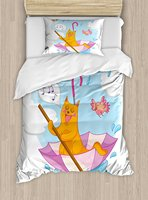 Duvet Cover Set , Cute Cat under the Umbrella Sail in the Clouds and Humor Cartoon Kids Nursery Theme, 4 Piece Bedding Set