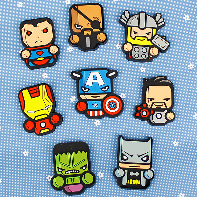 1 Piece Cartoon Fashion Kids Kawaii Batman Superman Iron Man Hulk Thor  Captain America Fridge Magnets Souvenir Magnetic Sticker aa4aad9b45c4