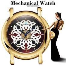 купить Automatic Mechanical Women Fashion Watch Hollow Skeleton Ladies CrowdSpring Design Clock Brand Luxury Watch Montre femme OUYAWEI дешево