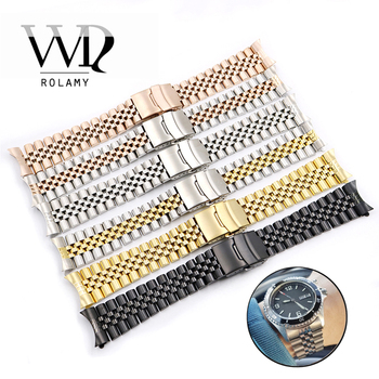 Rolamy Watch Band Strap 19 20 22mm Hollow Curved End Solid Screw Links Replacement Bracelet For Dayjust Wholesale Watchband
