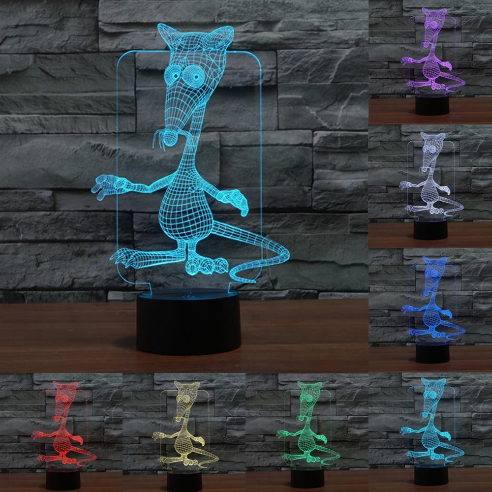 Мультфильм Мышь 3D Night Lights Новинка USB Touch Настольный светильник 7 цветов изменить 3d светодиодный Ночники для малышей Подарки IY803549