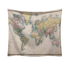 World Map Pattern Tapestry Ancient Living Room Egyptian Style Wall Hanging Mat Blanket Home Decor Tapestry 50%#(China)
