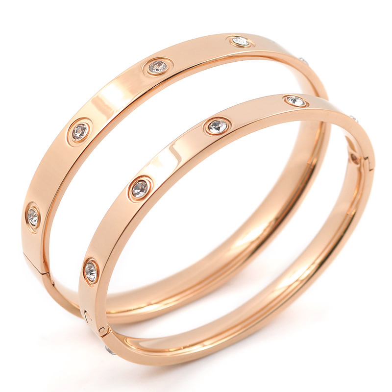 Trendy Rose Gold Love Bracelets Bangles Women Gold Color Stainless Steel Charming CZ Cuff Bracelet Lovers Luxury Brand Jewellery 11