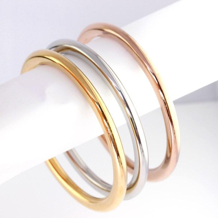 7289cca2e 3pcs Fashion Bangle Bracelet Stainless Steel Silver/Gold/Rose Charm Bracelet  For Girl & Women Wholesale \ Retail