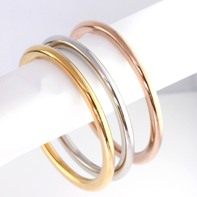 3pcs Fashion Bangle Bracelet Stainless Steel Silver Gold Rose Charm