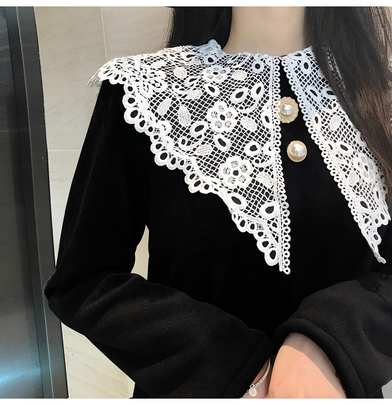 Gothic Style Women Velvet Dresses Black Velour Dress White Crochet Lace Collar Vestidos Mujer Loose Fitting Dress Plus Size (5)