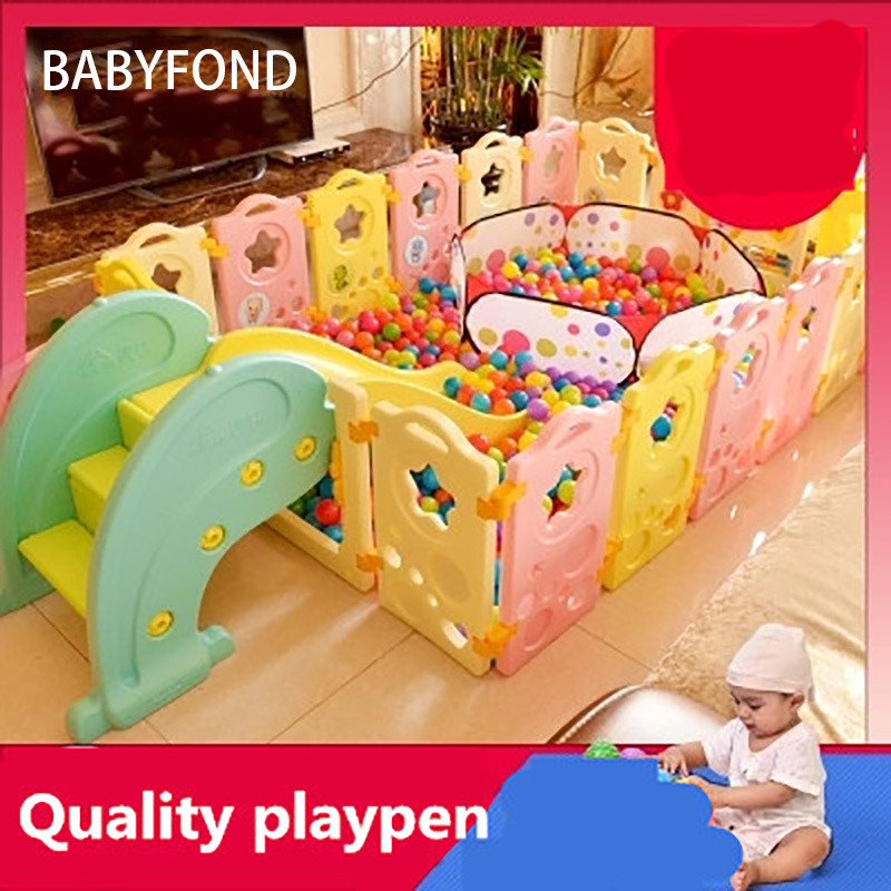 2018 < 3 Years Old Real Cercadinho Baby Playpen Fence Fencing For Children Child Game Crawling Security Toddler Ball Pool Toy 14 2 pcs baby playpen fence fencing for children child game crawling security toddler ball pool toy playpen