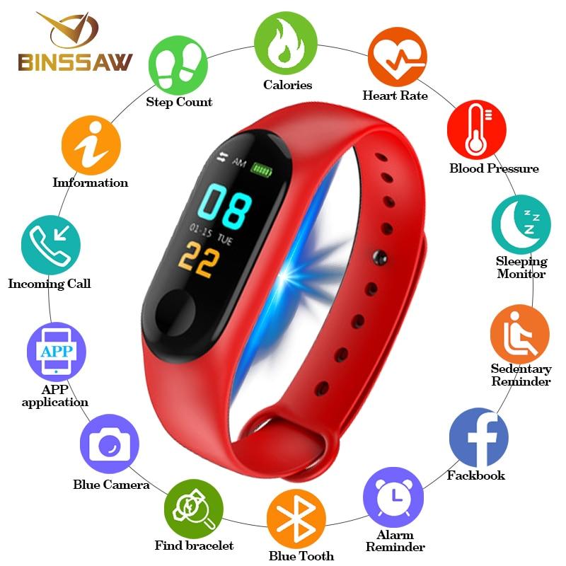 BINSSAW Nouveau Hommes Femmes Montre Smart Watch Sport Bracelet Bluetooth Horloge Coeur Taux Sang Pression Sommeil Moniteur Podomètre Bande avec la Boîte