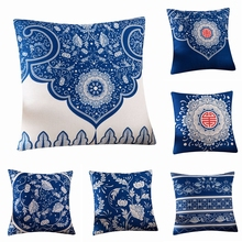 Chinese Ethnic Style Retro Geometry Flower Pattern Cushion Cover Sofa Chair Back Wholesaler Decorative Linen Pillow Case