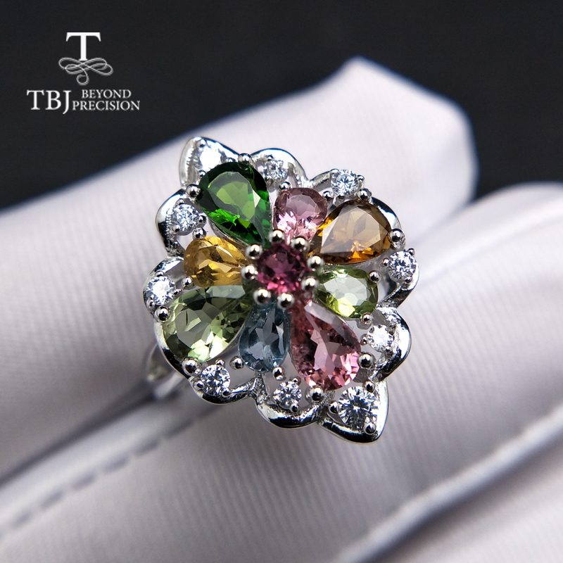 TBJ natural tourmaline gemstone ring in 925 sterling silver colorful precious stone jewelry for women mom