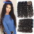 VIP Beauty Hair Brazilian Wet And Wavy Hair With Closure 4pcs Rosa Hair Products Brazillian Lace Closure With Wavy Hair Bundles