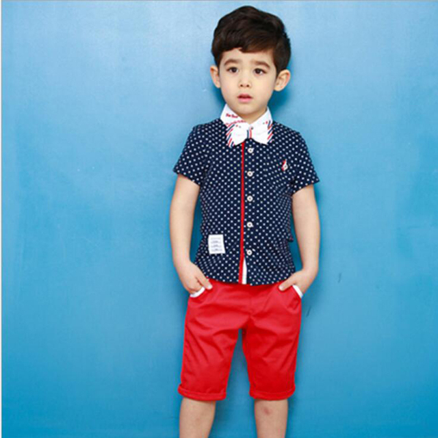 ed9db4801ab19 baby boy clothes set sumuer short sleeve boy shirt + short pants two piece  suit children boys fashion clothing for kids 3 8 T-in Clothing Sets from ...