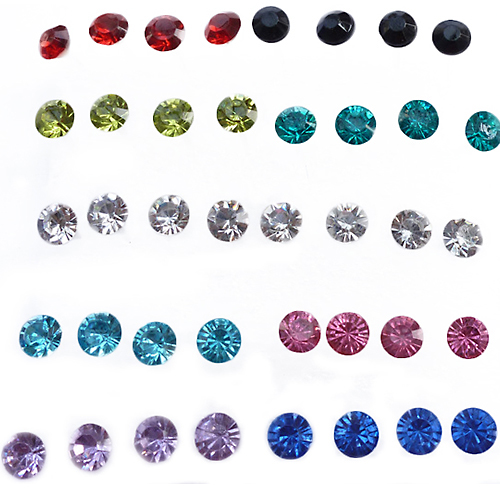 20 Pairs frauen Kristall Allergie Ohr Bolzen Ohrringe 5mm Klar/Multicolor Strass Ohrring Bolzen <font><b>In</b></font> Einer Box mode 1FRX image